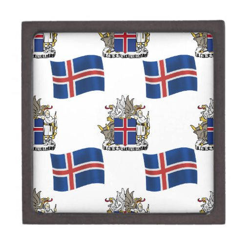 Flag and Crest of Iceland Premium Jewelry Box