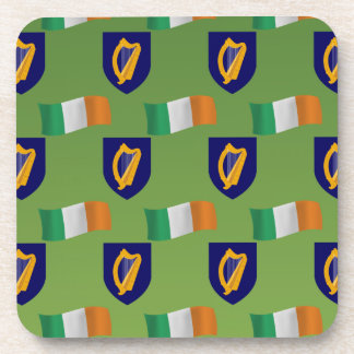 Flag and Crest of Ireland on Green Beverage Coaster