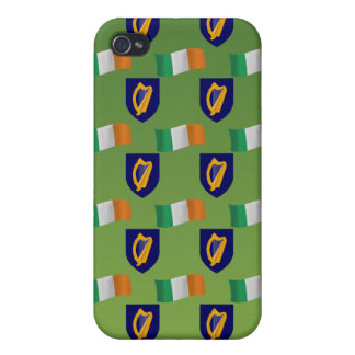 Flag and Crest of Ireland on Green Cover For iPhone 4