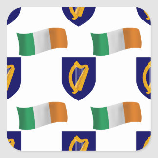 Flag and Crest of Ireland Square Sticker