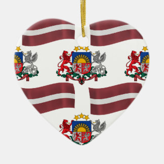 Flag and Crest of Latvia Double-Sided Heart Ceramic Christmas Ornament