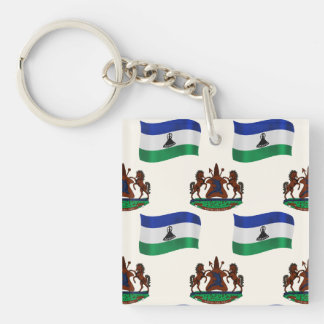Flag and Crest of Lesotho Double-Sided Square Acrylic Keychain
