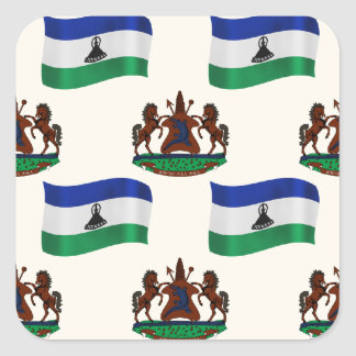 Flag and Crest of Lesotho Square Sticker