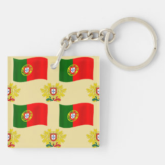 Flag and Crest of Portugal Double-Sided Square Acrylic Keychain