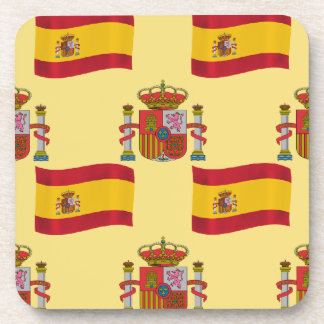 Flag and Crest of Spain Beverage Coasters