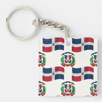 Flag and Crest of the Dominican Republic Keychain