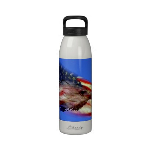 Flag and Eagle Reusable Water Bottle