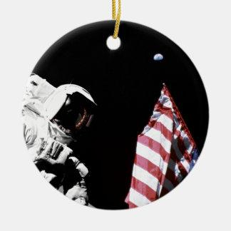 Flag and Earth Christmas Tree Ornaments