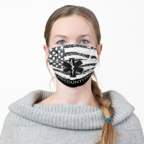 Flag and EMS Logo Volunteer Rescue Squads Cloth Face Mask
