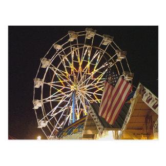 Flag and Farris Wheel at the Fair Postcard
