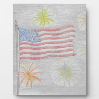 flag and fireworks plaque