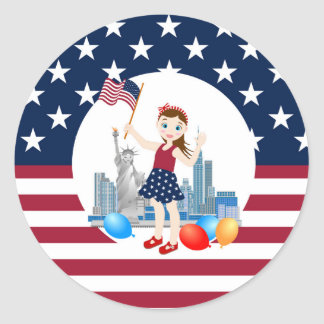 Flag and Liberty July 4th  Girl birthday party Classic Round Sticker