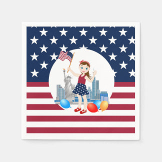 Flag and Liberty July 4th  Girl birthday party Paper Napkin