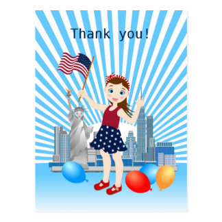 Flag and Liberty July 4th  Girl birthday party Postcard