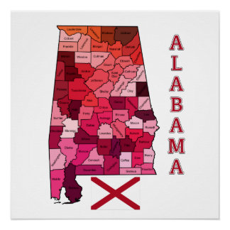 Flag and Map of Alabama Poster