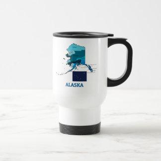 Flag and Map of Alaska 15 Oz Stainless Steel Travel Mug