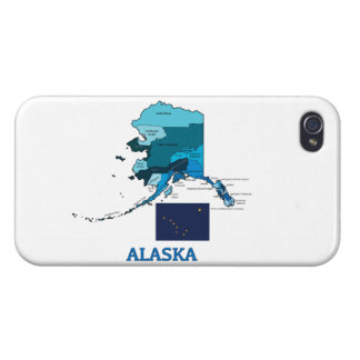 Flag and Map of Alaska Cover For iPhone 4