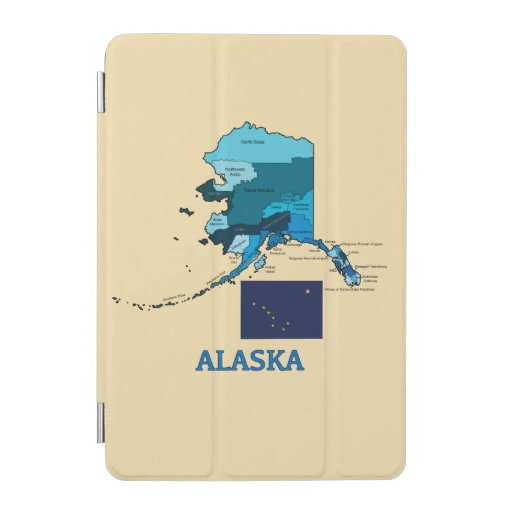 flag and map of alaska ipad mini cover zazzle. Black Bedroom Furniture Sets. Home Design Ideas