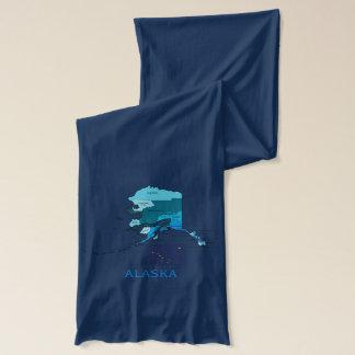 Flag and Map of Alaska Scarf