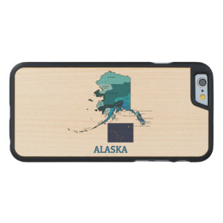 Flag and Map of Alaska Carved® Maple iPhone 6 Slim Case