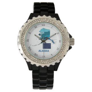 Flag and Map of Alaska Wrist Watch
