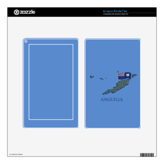 Flag and Map of Anguilla Skins For Kindle Fire