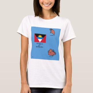 Flag and Map of Antigua and Barbuda T-Shirt