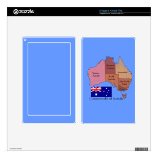 Flag and Map of Australia Kindle Fire Decals