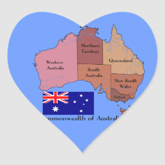 Flag and Map of Australia Heart Sticker
