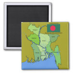 Flag and Map of Bangladesh 2 Inch Square Magnet