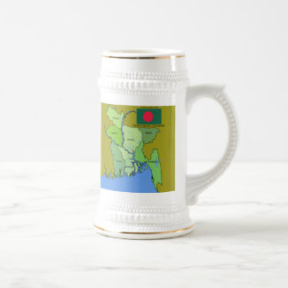 Flag and Map of Bangladesh Beer Stein