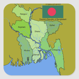 Flag and Map of Bangladesh Square Sticker