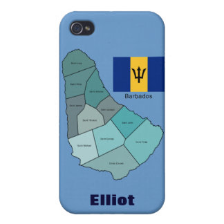 Flag and Map of Barbados iPhone 4/4S Case