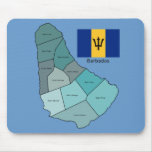 Flag and Map of Barbados Mouse Pad