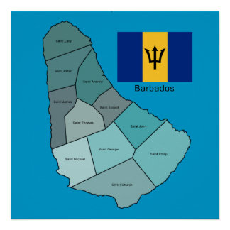 Flag and Map of Barbados Poster