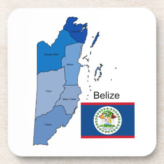 Flag and Map of Belize Drink Coaster