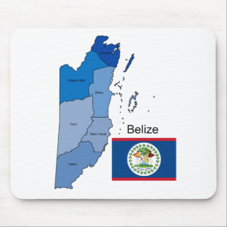 Flag and Map of Belize Mouse Pad