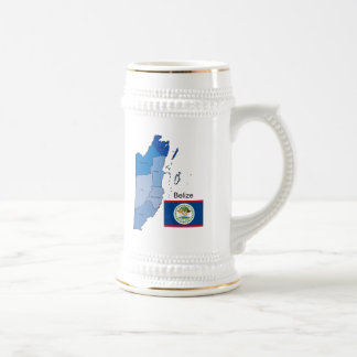 Flag and Map of Belize 18 Oz Beer Stein