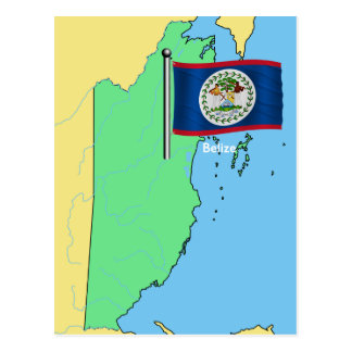 Flag and Map of Belize Postcard