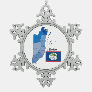 Flag and Map of Belize Snowflake Pewter Christmas Ornament