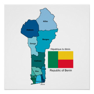 Flag and Map of Benin Poster
