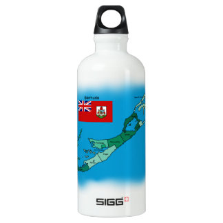 Flag and Map of Bermuda Aluminum Water Bottle
