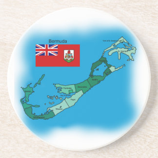Flag and Map of Bermuda Coaster