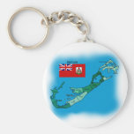 Flag and Map of Bermuda Key Chains