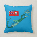 Flag and Map of Bermuda Throw Pillow