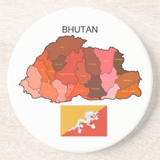 Flag and Map of Bhutan Beverage Coasters
