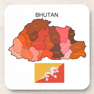 Flag and Map of Bhutan Drink Coasters