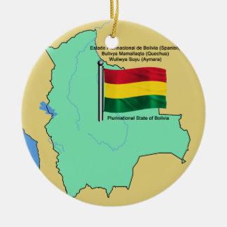 Flag and Map of Bolivia Ceramic Ornament