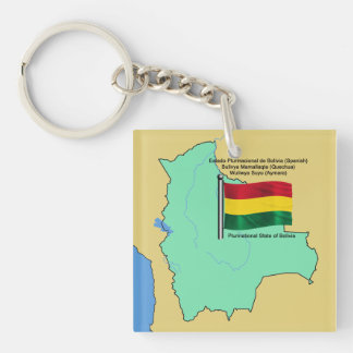 Flag and Map of Bolivia Keychain
