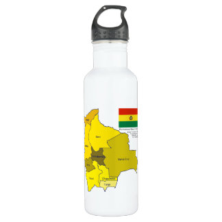 Flag and Map of Bolivia Stainless Steel Water Bottle